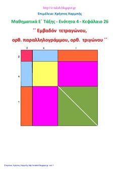 Επιμέλεια: Χρήστος Χαρμπής  Μαθηματικά Ε΄ Τάξης - Ενότητα 4 - Κεφάλαιο 26  ΄΄ Εμβαδόν τετραγώνου,  ορθ. παραλληλογράμμου, ορθ...
