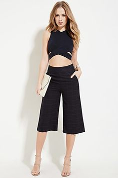 Grid-Patterned Culottes | Forever 21 - 2000223620