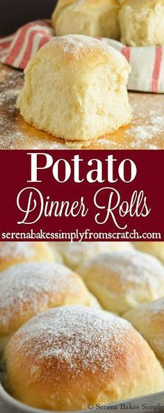 Soft, light and fluffy Potato Dinner Rolls like the lunch lady use to make in school! These are the perfect addition to your Thanksgiving and Christmas holiday dinner table! http://serenabakessimplyfromscratch.com