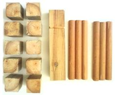 Make your Own KUBB Game  It's easy for the whole family, yet challenging for the most competative of you.