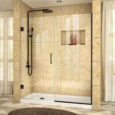 Unidoor Plus 44 in. to 44-1/2 in. x 72 in. Semi-Framed Hinged Shower Door in Satin Black with Hardware