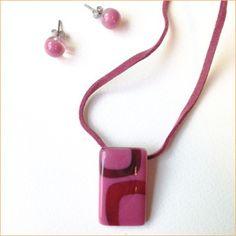 Glass jewelry • Simple pink set
