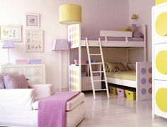 Beautiful shining girl room with bunk beds ideas. soooo totaly adorable