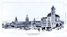 TORONTO, Ontario - Architectural drawing of the expanded original Union Station. Canadian Pacific Railway, Union Station, Toronto Canada, Romanesque, Canada Travel, Ontario, Big Ben, Barcelona Cathedral, Architecture