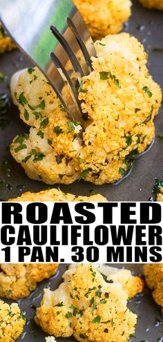 OVEN ROASTED CAULIFLOWER RECIPE- Quick easy best crispy healthy made with simple ingredients in one pot pan A 30 minute side dish loaded with garlic parmesan cheese Can be made with whole cauliflower or steaks Can also be made with broccoli carrots From Healthy Side Dishes, Side Dish Recipes, Veggie Recipes, Vegetarian Recipes, Healthy Recipes, Easy Vegtable Side Dishes, Easy Vegitarian Dinner Recipes, Simple Side Dishes, Healthy Vegetarian Dinner Recipes