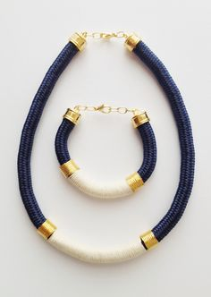 Navy blue cord set with white rope