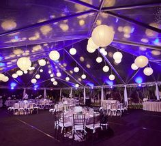Fun #ceiling balls at this #purple #uplighting #wedding #reception! # & 47 Best Tent Uplighting images | Tent wedding Event lighting ...