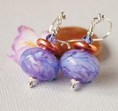 Mauve Lampwork Glass Bead Earrings, Copper Greek Ceramic, Sterling Silver £15.00