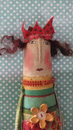 Vintage mixta arte popular muñeca caprichosa... Señoras