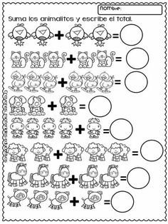 Sumas 1 Kindergarten Worksheets, 5 Year Olds, Pre School, Montessori, Homeschool, Classroom, Teaching, Education, Math