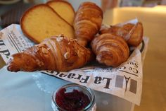 Breakfast is served. Fresh croissant and pain au chocolat whats your favorite? #cairo #breakfast #restaurants