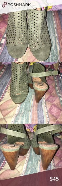 Olive green wedges Never worn olive green wedges by guess. No box G by Guess Shoes Wedges