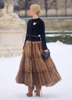 Vintage fur coat. Ulyana Sergeenko