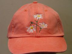 WHITE FIELD DAISY Flower Hat Embroidered Garden by priceapparel