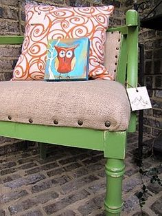 Free wooden chair. Painted green and upholstered with inexpensive burlap. Just add nailhead trim to complete the look!