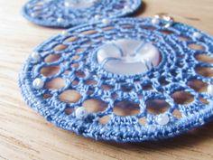 Crochet earrings lace earrings hoop earrings by FarbotyKnoty Lace Earrings, Button Earrings, Crochet Earrings, Hoop Earrings, Plastic Beads, Lace Making, Earring Backs, Crochet Lace, Washer Necklace