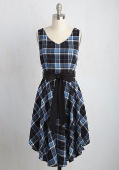 The Dancer to Your Questions A-Line Dress in Blue Plaid. The arrival of this plaid dress into your life puts an end to your ponderings over the perfect frock. #blue #modcloth