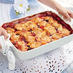 Patchwork Cobbler. Topped with squares of sugar-crusted pastry, this cobbler shows off summer fruits in a rich, just-sweet-enough-filling.