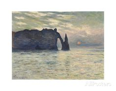 The Cliff, Etretat, Sunset, 1883 Prints by Claude Monet at AllPosters.com
