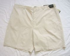 Mens Shorts Size 44W Beige Flat Front Perfect Fit Flexible Waistband NWT #Alfani #CasualShorts