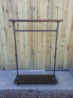 55 East/West clothing rack garment rack by Vintagesteelandwood, $260.00