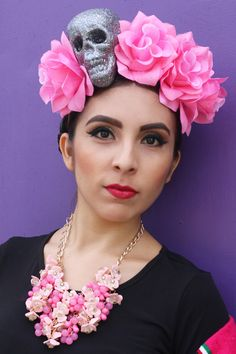 Pink Flower Crown Headband Glitter Skull (Costume Mexican Day of the Dead Catrina Music Festival Goth Cosplay Halloween Rave Frida Kahlo Costume Day of the Dead Costume Halloween Costume Day of the Dead headpiece Frida Kahlo Crown Dia De Los Muertos Catrina)