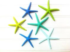 Starfish ornament set of tropical beach colors! Perfect for your tree this year!  These would look great on a white tree!    beach island tropical nautical coastal by the sea Christmas holiday tree décor ornament gift garland table place setting stocking stuffer shell shells sea glass seaglass turquoise mint blue aqua marine royal lime emerald mist green jimmy buffett margaritaville lilly Pulitzer