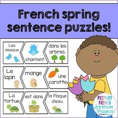Simple puzzle sentences for French Immersion or Core French students. Great centre for spring!