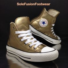 4cd1cf822c9b Converse All Star Leather Trainers Gold sz 3 Womens Girls Metallic High Tops  35