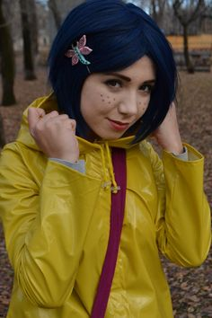 Coraline Cosplay Forget the freckles. But this haircut and raincoat for you ...yup