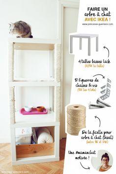 Matériel : 4 tables Lack 12 équerres de chaises + vis pour les fixer Corde / ficelle pour arbre à chat (Sisal) Un tapis de salle de bain Ikea pour les étag