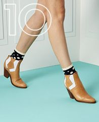 """Surface to Air, """"Serra Cowboy V1"""" and Karen Walker, """"Spotted Socks""""; Ankle boot with printed socks = always good"""