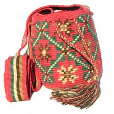 Wayuu Mochila Small 1 hebra bag by Wayuu Chic winter pastel coral flower