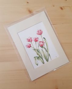 Small, mounted, floral, acrylic painting of pink Tulips.  This delicate piece is a hand painted, stylised view of my favourite flowers, Tulips. ------------------------------------------------------------------------------------------ Description This signed acrylic and pen painting has been hand drawn and painted on 240g acid free acrylic paper and is one of a kind. I have attached the painting to a 2.3 cm wide cream mount with bevelled internal edges using PH neutral Artist Tape. (This…