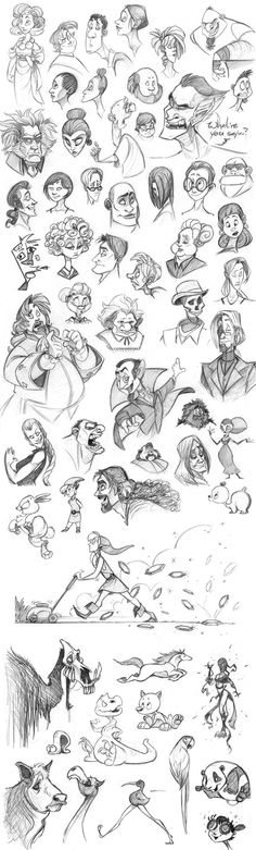 "Oodles of Doodles by Leah Fuhrman, via Behance-- My mom did something like this with the characters from ""The Cinnamon Bear"", an old radio program. Always inspirational, that mom is! [ ""Excellent range of characters for reference on this project. Note how expressions are well executed both through facial features and body pose and shape of head/direction of it. (viewed -)"", ""Doodles on Behance hair face animals"", ""Male female mythical elderly child reference"", ""Biggest character dump ..."