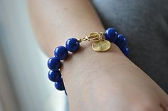 Personalized gold anchor sideways initial bracelet ,  navy blue  pearl , monogram bride bridesmaid