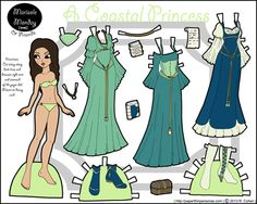 Princess paper doll in coastal colors with three dresses and some boots. She is also available in black and white if people want to color her. She was posted in 2013.
