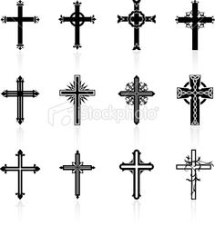 Illustration about Original Vector Illustration: religious cross design collection. Illustration of gothic, digitally, painting - 12098244 Body Art Tattoos, New Tattoos, Tatoos, Mayan Tattoos, Cross Tattoos, Religious Symbols, Religious Cross, Cruces Tattoo, Cross Pictures