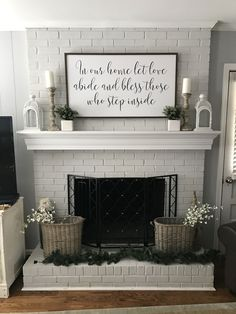 Loving my Farmhouse mantle ❤️️ – Farmhouse Fireplace Mantels Home Living Room, Living Room Designs, Home Fireplace, Brick Fireplace Decor, Fireplace Mantle Decorations, Painted Brick Fireplaces, Decorate Mantle, Brick Fireplace Makeover, White Mantle Fireplace