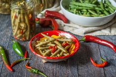 Spicy Pickled Green Beans - a delicious refrigerator pickle that is a healthy, low carb snack! Spicy Pickled Beans, Pickled Green Beans, Refrigerator Pickles, Kitchen Time, Bean Recipes, Charcuterie, Vegan Gluten Free, Low Carb, Tasty