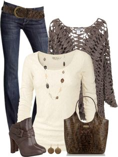 Crochet Knit Sweater Fall Outfit