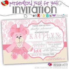 777: DIY - Cute Pink Teddy Bear Party Invitation Or Thank You Card