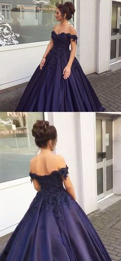 Navy Blue Ball Gowns Off Shoulder Wedding Dresses 2018 Engagement Dresses by MeetBeauty, $176.36 USD
