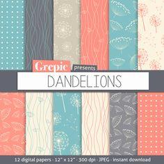 "Digital paper dandelions: ""Dandelions"" with dandelion patterns for scrapbooking, invites, cards"
