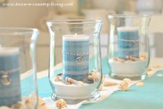 Summer Coastal Centerpiece with Candles and Seashells - step by step tutorial so you can create it yourself!