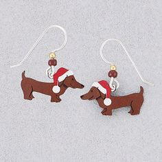 Handcrafted Holiday Dachshund Earrings