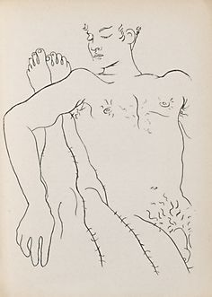 "Jean Cocteau Male Couple 1947 Illustration for Jean Genet's 'Querelle de Brest"" Life Drawing, Figure Drawing, Drawing Sketches, Art Drawings, Chef D Oeuvre, Oeuvre D'art, Illustrations, Illustration Art, Tela"