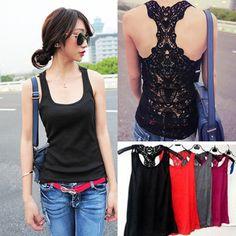 bacc15ca9d584b Cami Hollow-out Pierced Women Crochet Lace Back Sleeveless T-shirt Tank Top  Vest