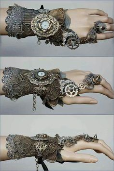 Inspired Steampunk for her. Photo: Spiked gears cuff by pinkabsinthe on Etsy. A beautifully curvilinear Steampunk design that is improbably fantastic. Moda Steampunk, Design Steampunk, Steampunk Kunst, Style Steampunk, Steampunk Wedding, Gothic Steampunk, Steampunk Fashion, Gothic Fashion, Steampunk Gloves