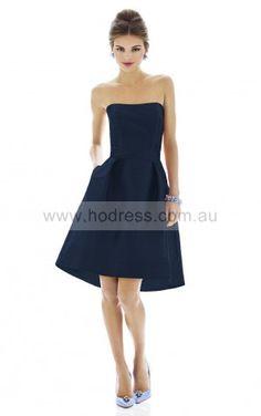 Sleeveless Zipper Strapless Knee-length Taffeta Evening Dresses esfa307127--Hodress